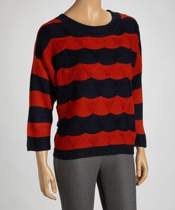 Navy & Spice Stripe Crew Neck Sweater