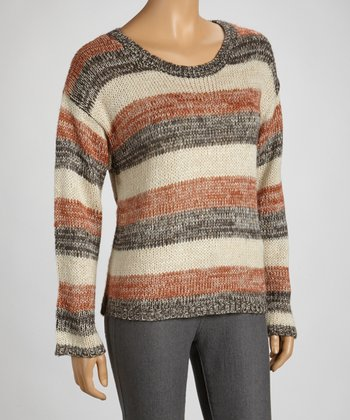 Rust Stripe Crew Neck Sweater