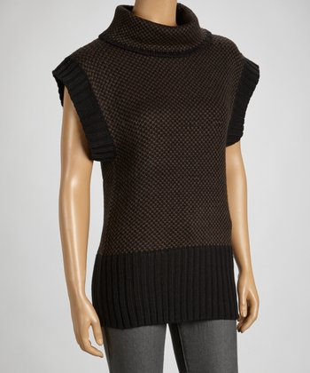Black & Brown Turtleneck Sweater