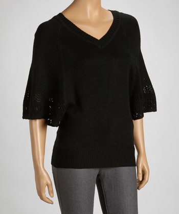 Black Pointelle Cape-Sleeve Sweater