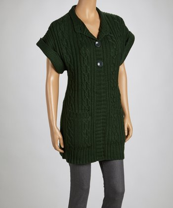 Deep Green Short-Sleeve Cardigan