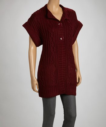 Wine Short-Sleeve Cardigan