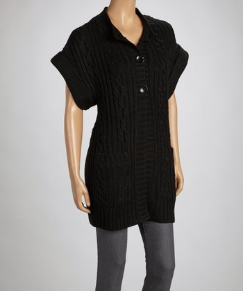Black Short-Sleeve Cardigan