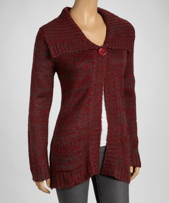 Wine Wide-Collar Cardigan