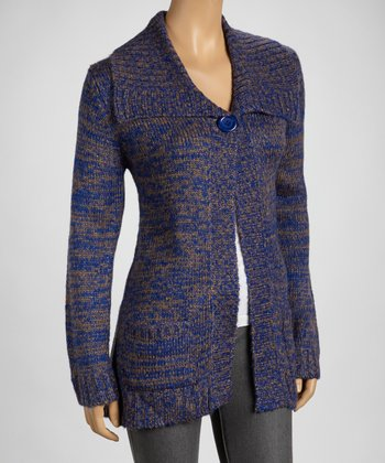 Cobalt Wide-Collar Cardigan