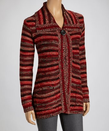 Black & Red Stripe Cardigan