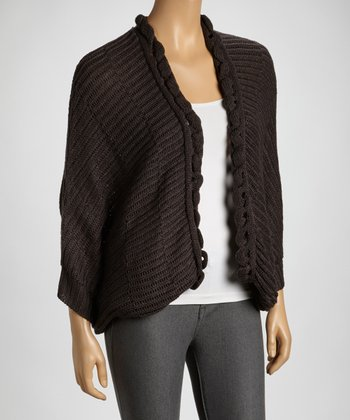 Charcoal Knit Open Cardigan