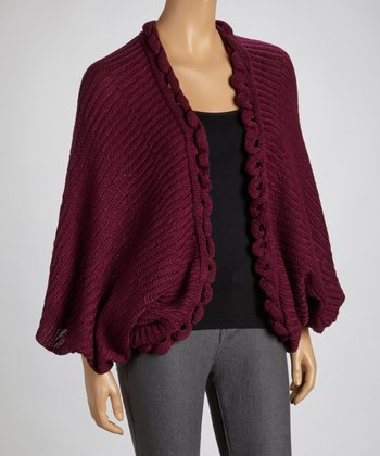 Aubergine Knit Open Cardigan