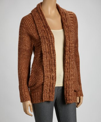 Rust Cable Knit Open Cardigan