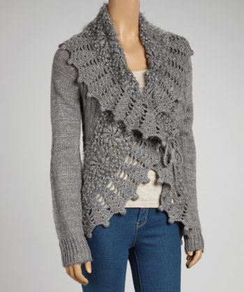 Gray Wool-Blend Crochet Open Cardigan