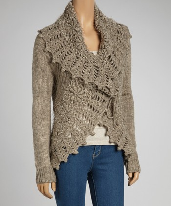 Oatmeal Wool-Blend Crochet Open Cardigan