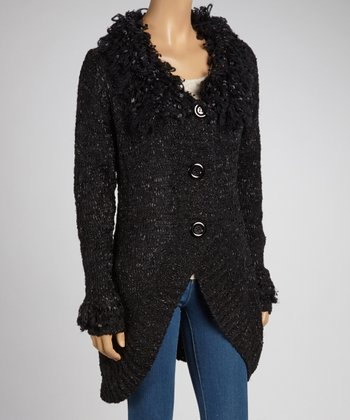 Black Wool-Blend Fluffy Collar Cardigan