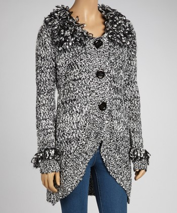 Black & White Wool-Blend Fluffy Collar Cardigan