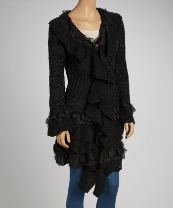 Black Tiered Wool-Blend Open Cardigan