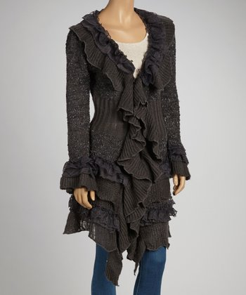 Gray Tiered Ruffle Open Cardigan