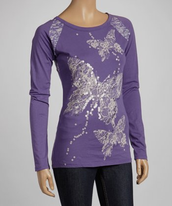 Lavender Butterfly Lace Long-Sleeve Top