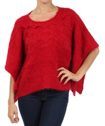 Red Knit Cape-Sleeve Top