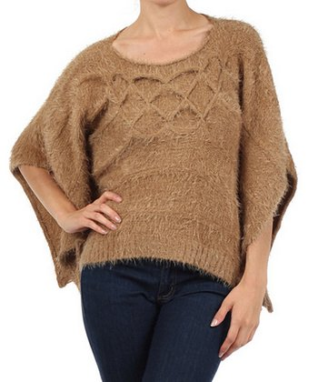 Taupe Knit Cape-Sleeve Sweater