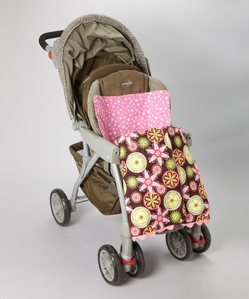 Brown Flower Bloom Stroller Blanket