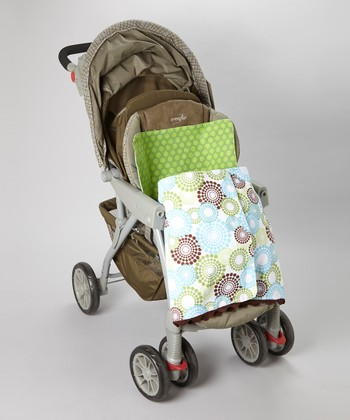 Blue & Green Polka Dot Circle Stroller Blanket