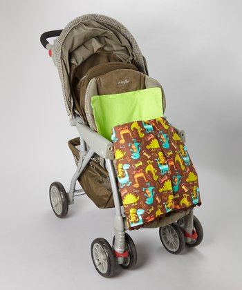 Brown & Green Dinosaur Stroller Blanket