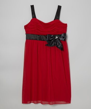 Red & Black Bow Dress - Girls' Plus
