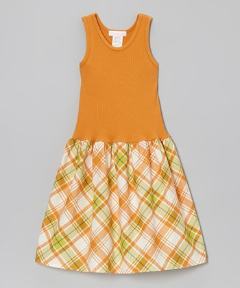 Orange Cambridge Plaid Dress - Infant, Toddler & Girls