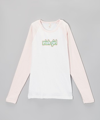 White & Pink 'Irish Girl' Raglan Tee - Girls