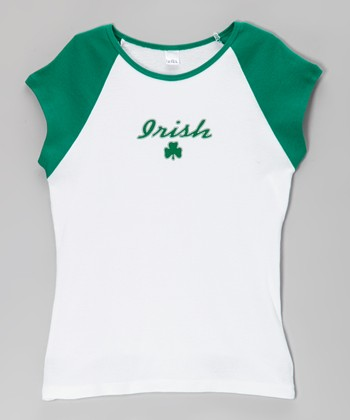 White & Green 'Irish' Cap-Sleeve Tee - Girls