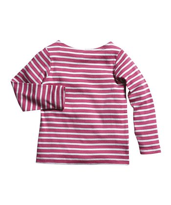 Raspberry & Gray Stripe Boatneck Tee - Toddler & Girls