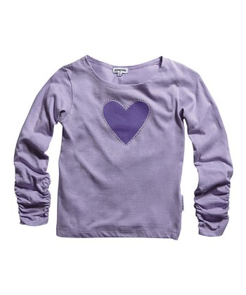 Violet Diamante Heart Ruched Tee - Infant, Toddler & Girls