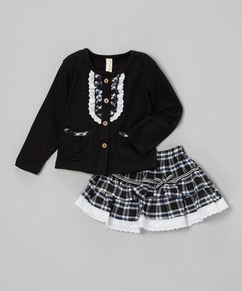 Black Plaid Cardigan & Skirt - Infant