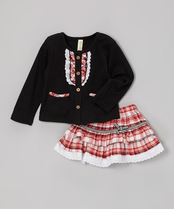 Black & Red Plaid Cardigan & Skirt - Infant & Toddler