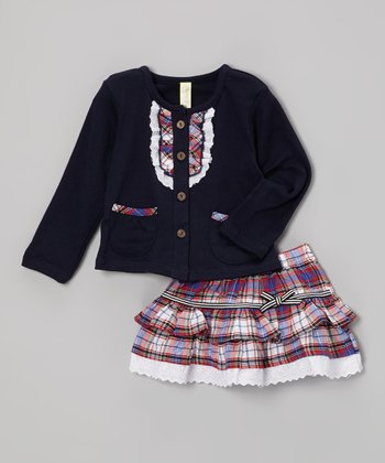 Navy & Red Plaid Cardigan & Skirt - Infant & Toddler