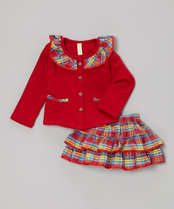 Red Plaid Cardigan & Skirt - Infant