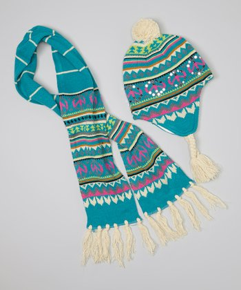 Teal Peace Sign Earflap Beanie & Scarf