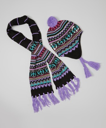 Black Peace Sign Earflap Beanie & Scarf