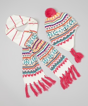 White Peace Sign Earflap Beanie & Scarf