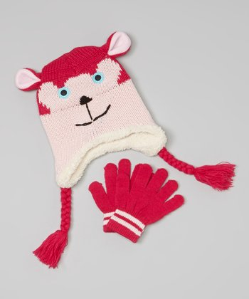 Pink Bear Earflap Beanie & Gloves