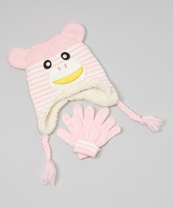 Pink Monkey Earflap Beanie & Gloves