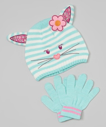 Teal Cat Beanie & Gloves