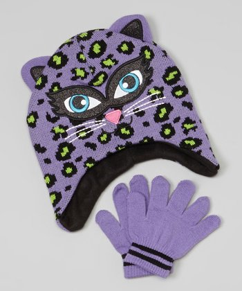 Light Purple Leopard Beanie & Gloves