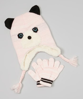 Light Pink Bear Earflap Beanie & Gloves