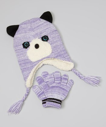 Purple & Black Bear Earflap Beanie & Gloves