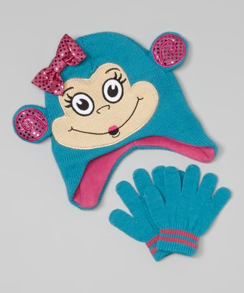 Teal Monkey Bow Beanie & Gloves