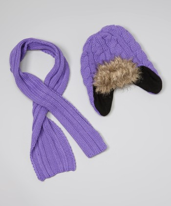 Purple Fur Beanie & Scarf