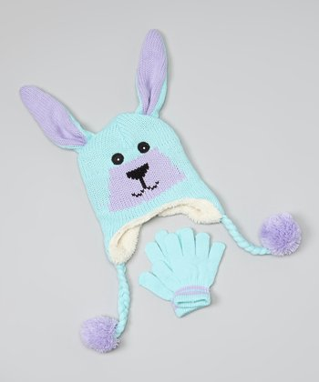 Teal & Purple Bunny Earflap Beanie & Gloves