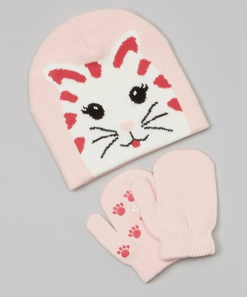Pink & Red Cat Beanie & Mittens