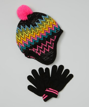 Black Zigzag Earflap Beanie & Gloves