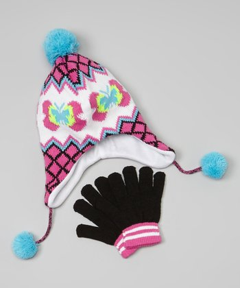 Teal Butterfly Earflap Beanie & Gloves